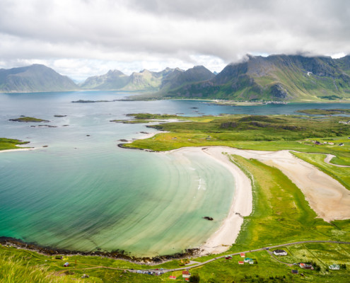 Blick auf Ytresand, Lofoten, Norwegen